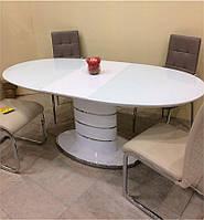 Обеденный стол Luna (Луна) белый глянец со стеклом 140/180х90х76 см, стиль модерн