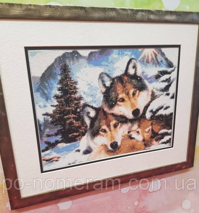алмазная мозаика семья волков фото готовой работы