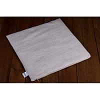 Льняной коврик на авто/офисное сидение (со съёмным чехлом) размер 45х45 см., серый