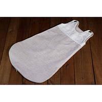 Детский льняной спальный мешок , серый
