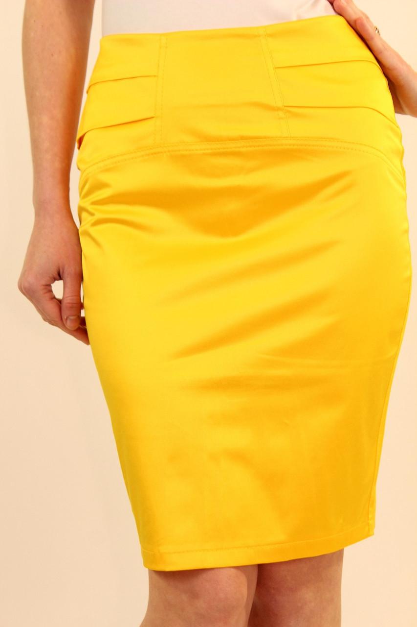 Юбка со складками сзади 42-48 р ( желтый, салатовый )