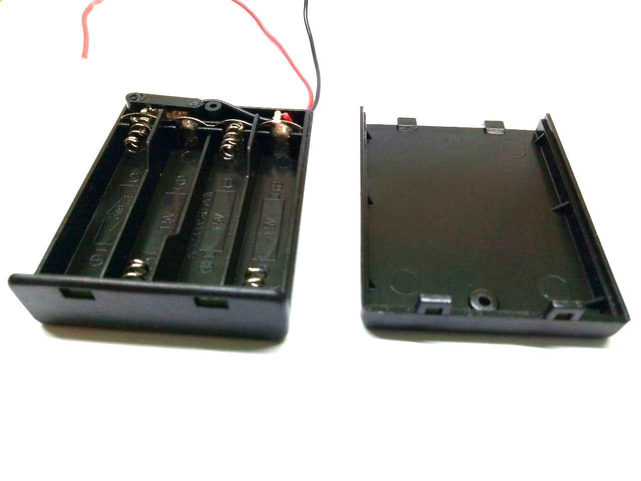 Отсек для батареек 4xААA с крышкой и перекл. ON-OFF, 62x48х16мм, провод