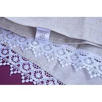Льняное полотенце с кружевом размер 50х70 см., серое