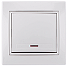 Выключатель 1-клав. с подсветкой Lezard MIRA белый с белой вставкой