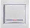 Выключатель 1-клав. с подсветкой Lezard MIRA белый с серой вставкой