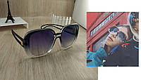 Большие женские солнцезащитные очки Style - черные с синей линзой