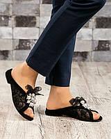 Стильные босоножки женские с гипюром черные, фото 1
