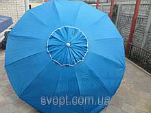 Зонт круглый (3м) с серебряным напылением и клапаном на 16 пластиковых спиц