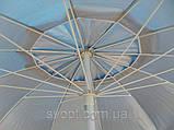 Зонт круглый (3м) с серебряным напылением и клапаном на 16 пластиковых спиц, фото 2
