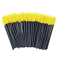 Щеточки для расчесывания ресниц желтые с черной ручкой, 50 шт. в упаковке