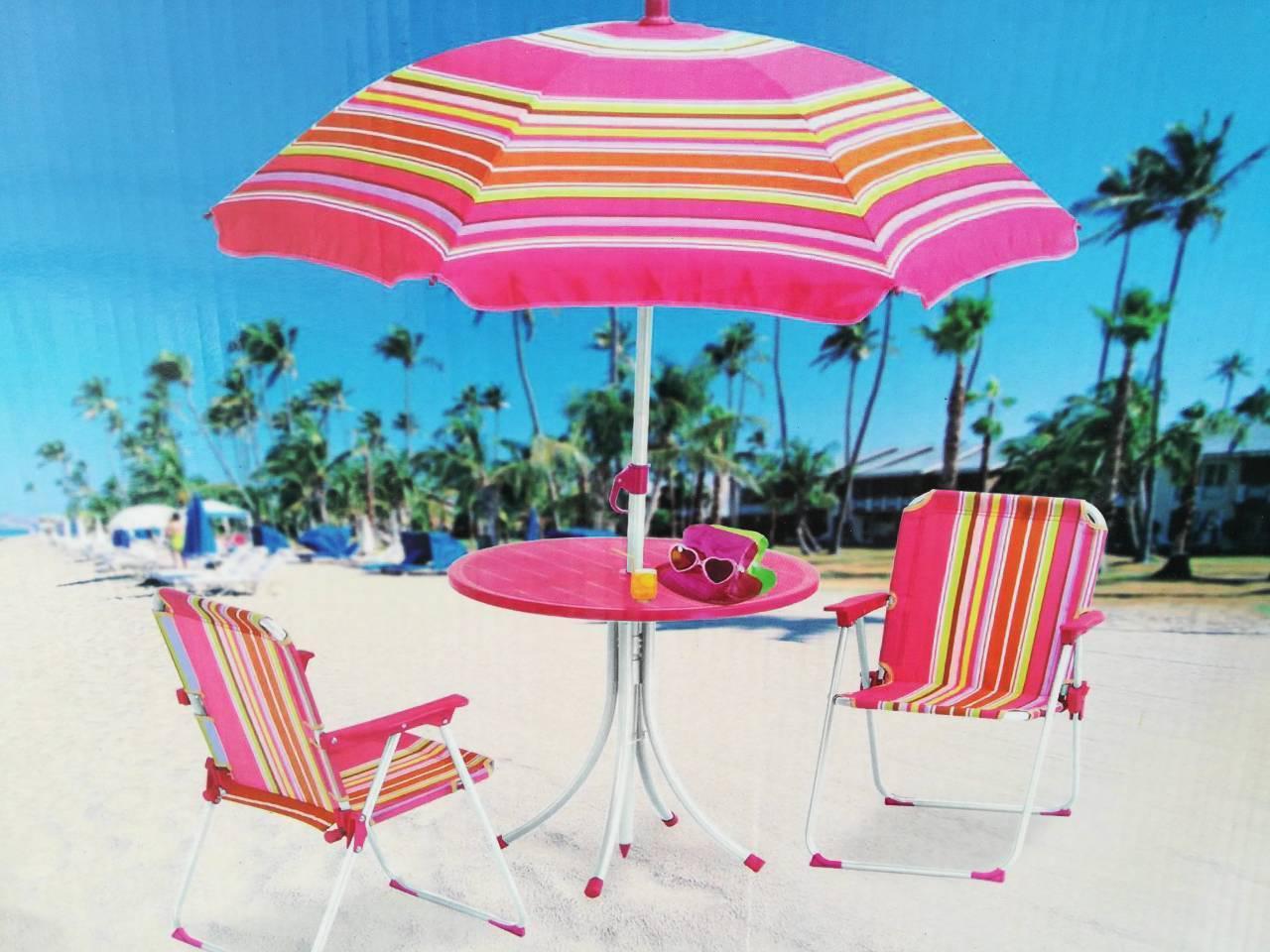 Набор мебели для пикника детский: столик с зонтом и 2 стула