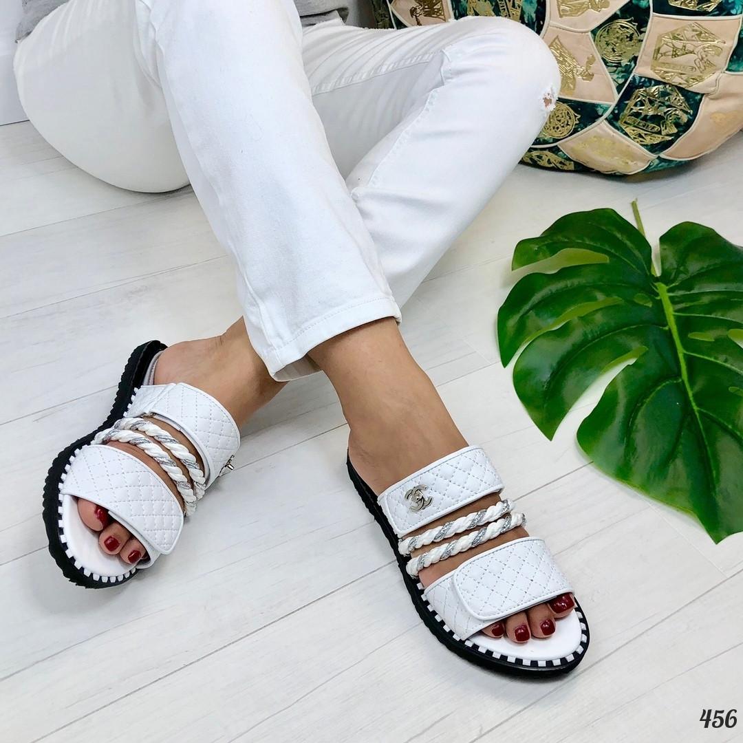 Шлепанцы Brand Lux на липучках белые. Нтуральная кожа