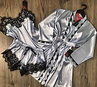 Халат и пижама - шелковый комплект с кружевом.