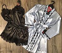 Шелковый комплект с кружевом для дома майка+шорты+халат.