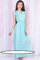 Вечернее длинное платье  Размеры: 42, 44, 46, 48  из мягкого полупрозрачного шифона и гипюра с кружевом. Неглу