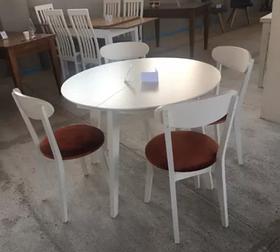Кухонный стол МАРС 100+40 белый