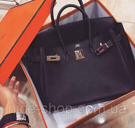 Сумка брендовая  черная, кожа, 30 см, средняя, фото 3