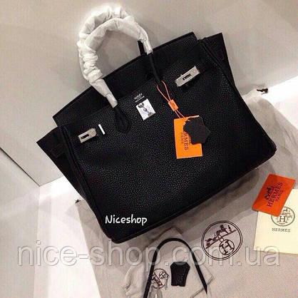 Сумка брендовая  черная, кожа, 30 см, средняя, фото 2