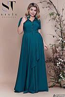 Женское длинное платье рубашечного кроя Софт Размер 48 50 52 В наличии 7 цветов, фото 1