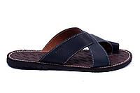 Мужские кожаные  летние шлепанцы-сланцы Bonis Original Blue, фото 1