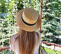 Соломенная летняя шляпа канотье с лентой (поля 6 см)