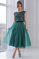 724c8c5bd2d Красивый женский юбочный костюм кофта из сетки вышитой пайеткой пышная юбка  из евро сетки ниже колен