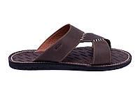 Мужские кожаные  летние шлепанцы-сланцы Bonis Original  Brown, фото 1