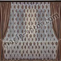 Тюль лен шоколадный цветок, фото 1