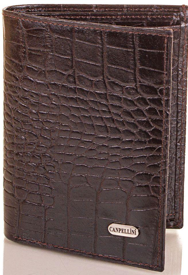 Вместительное мужское кожаное портмоне CANPELLINI SHI505 коричневый