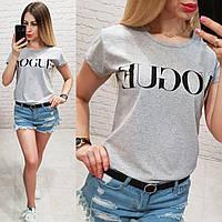 Женская футболка летняя качество реплика копия Vogue турция 100% катон цвет серый, фото 1