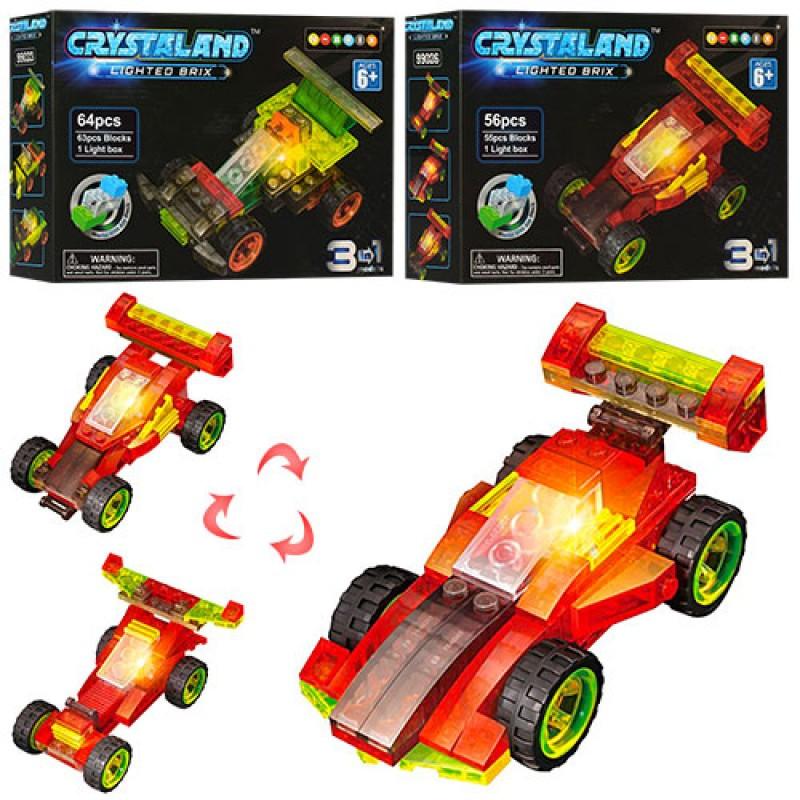 Конструктор гоночная машинка, свет, 2 вида (64дет., 56дет), 99023-99026