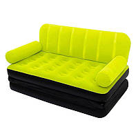 Надувной диван трансформер 2 в 1 Bestway 67356 с электрическим насосом Зеленый, фото 1