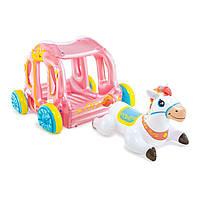 Надувной игровой центр детский карета Intex 56514 с надувной лошадкой