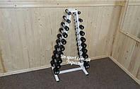 Покрашенный гантельный ряд 1-10 кг со стойкой