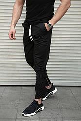 Черные мужские брюки зауженные на резинке , декоративные молнии