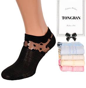Женские красивые короткие носки с сеткой Tongran 05. В упаковке 10 пар