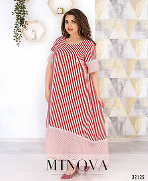 Довге А-силуету вільне плаття в смужку великі розміри від 54 до 64, фото 2