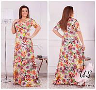 Красивое батальное летнее длинное платье. Цвета!, фото 1