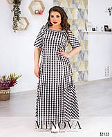 Длинное А-силуэта свободное платье в клетку большие размеры от 54 до 64