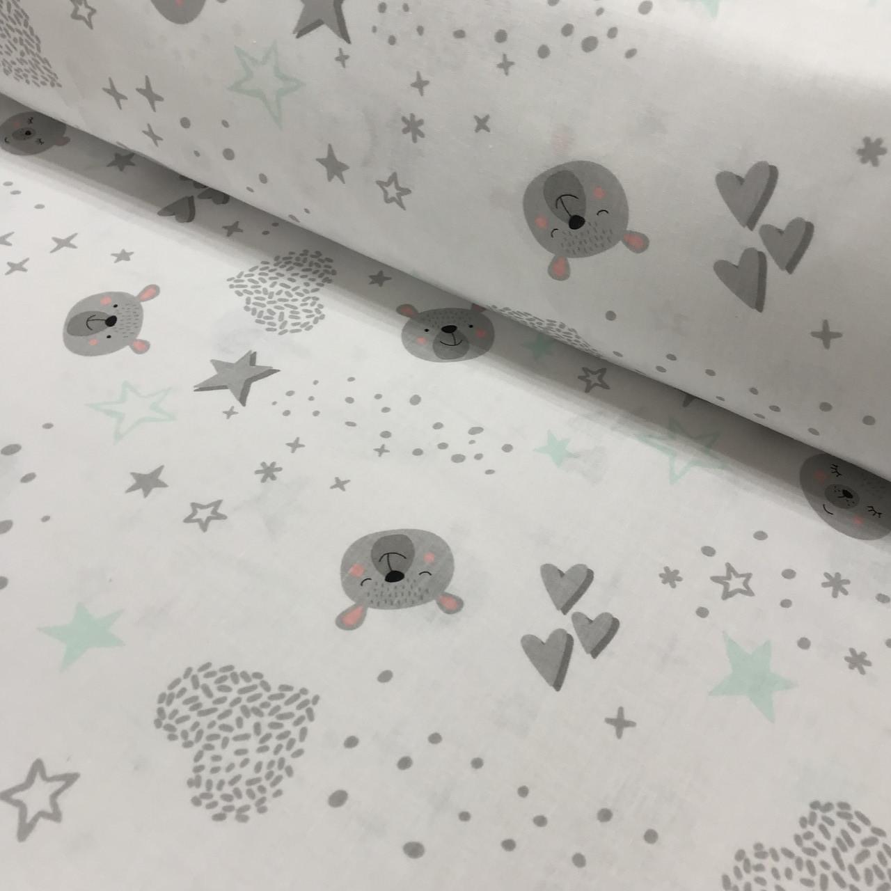 Хлопковая ткань польская мишки, звезды мятные и сердца на белом