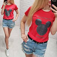 Женская футболка летняя качество Growing Up турция 100% катон цвет красный, фото 1