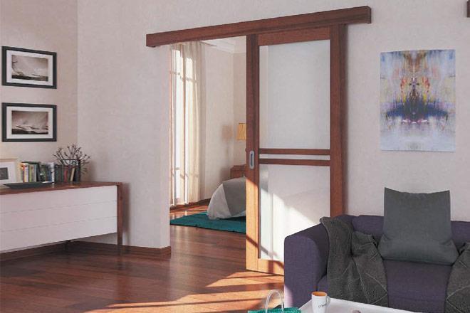 Комплект фурнитуры Slido Classic 40-P, весом дверного полотна до 40 кг с ходовой шиной, алюминий без покрытия