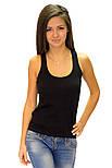 Майка борцовка женская трикотажная хлопковая стрейчевая, черная, фото 2