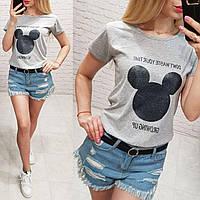 Женская футболка летняя качество Growing Up турция 100% катон цвет серый, фото 1