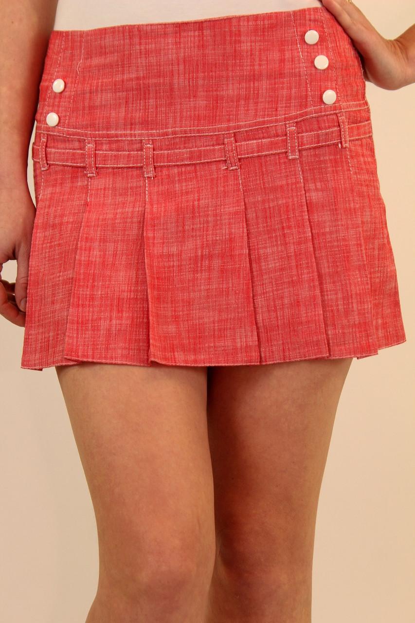Льняная юбка со складками впереди 42-48 р ( красный, сиреневый )