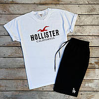 Футболка мужская летняя Hollister из хлопка с которкими рукавами (белая), ТОП-реплика