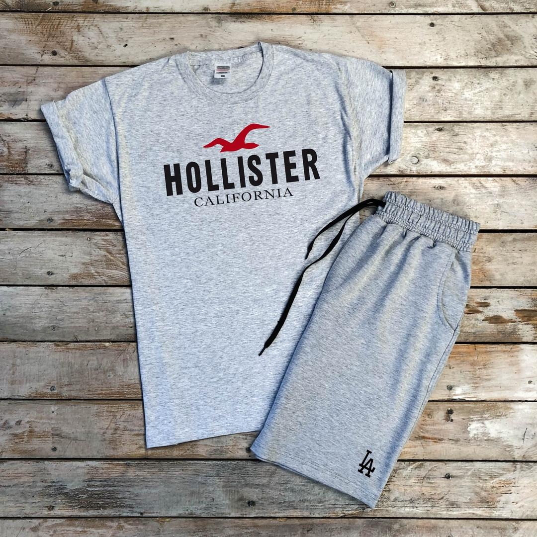 Футболка мужская Hollister California на лето хлопковая с которкими рукавами в сером цвете, ТОП-реплика