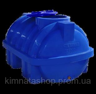 Емкость для воды на  500 л пластиковая горизонтальная синяя усиленная ребром (124*90*78 см)