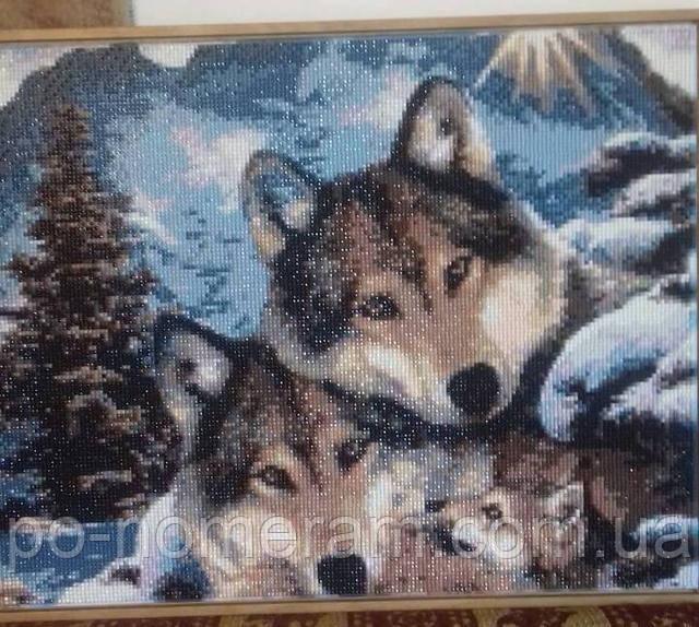 алмазная вышивка волки фото готовой работы