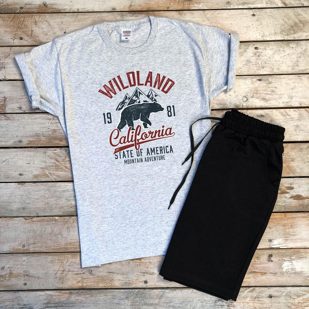 Стильная мужская футболка  Wildland с принтом медведя в сером цвете